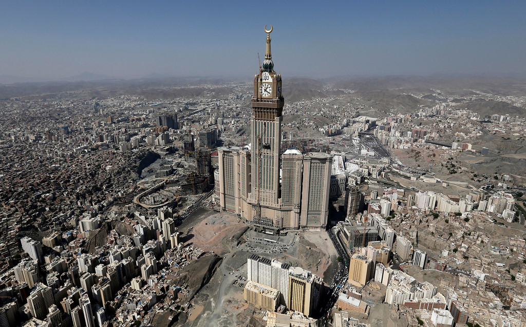 . This Oct. 27, 2012 file aerial image made from a helicopter shows the Abraj Al-Bait Tower, also known as Makkah Royal Clock Tower Hotel, during the annual Hajj in the Saudi holy city of  Mecca, Saudi Arabia. (AP Photo/Hassan Ammar, File)