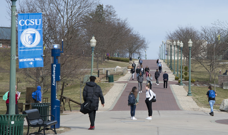 03/11/20    Wesley Bunnell   Staff  CCSU is joining the growing number of schools which will be going to online classes for the remainder of the semester due to Coronavirus fears.  Students walk near the student union on Wednesday Feb 11, 2020.