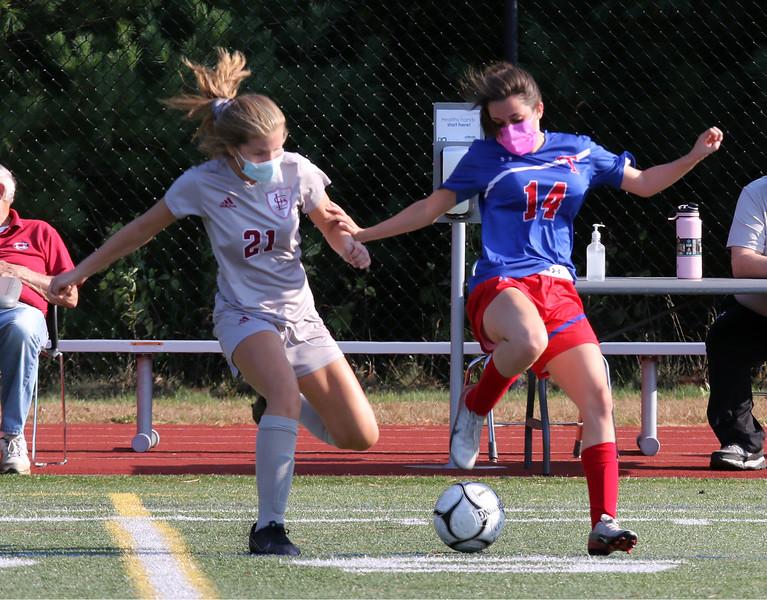 Lowell vs Tewksbury girls soccer. Lowell's Jacqueline Peirce (21) and Tewksbury's Christina Capachietti (14). (SUN/Julia Malakie)