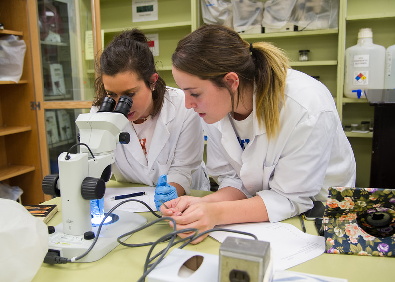 Students Whitney McLain (left) and Carly Hester work to identify different species of fish during an Ichthyology class.