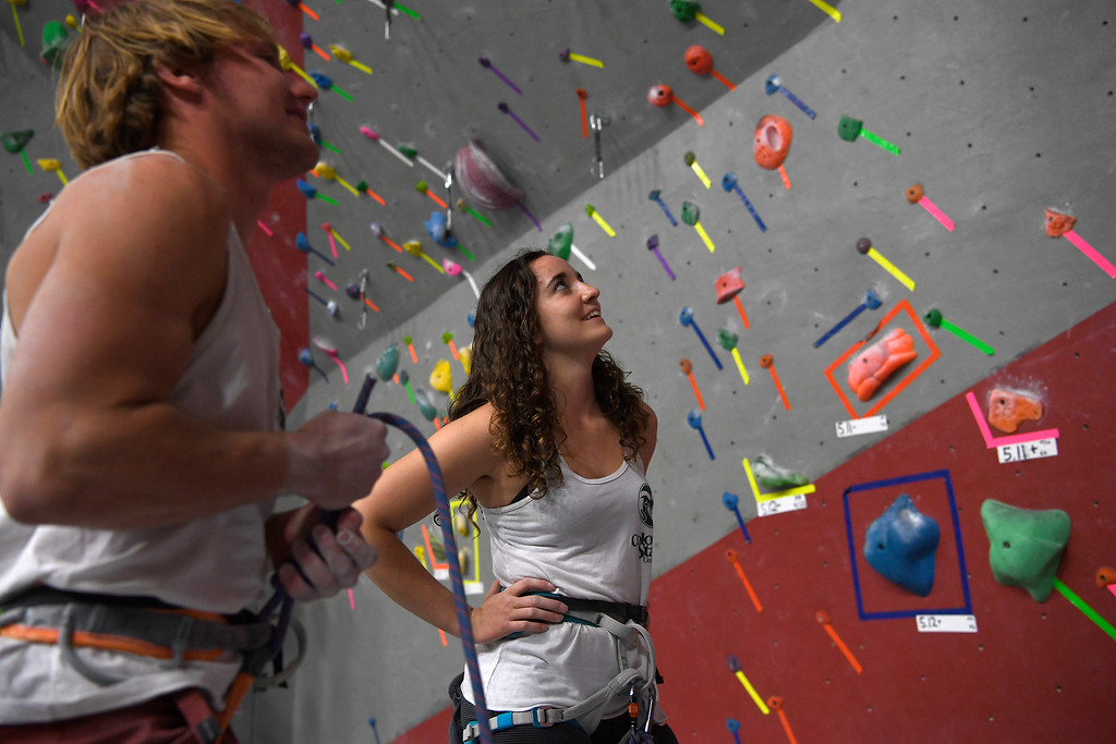 . FORT COLLINS, CO - MAY 05: Angela Stroud (national champion in the women\'s speed climb) and Dan McClure scout their route on Thursday, May 5, 2016. In April, the Colorado State climbing team won the USA Climbing national title � its second straight win. (Photo by AAron Ontiveroz/The Denver Post)
