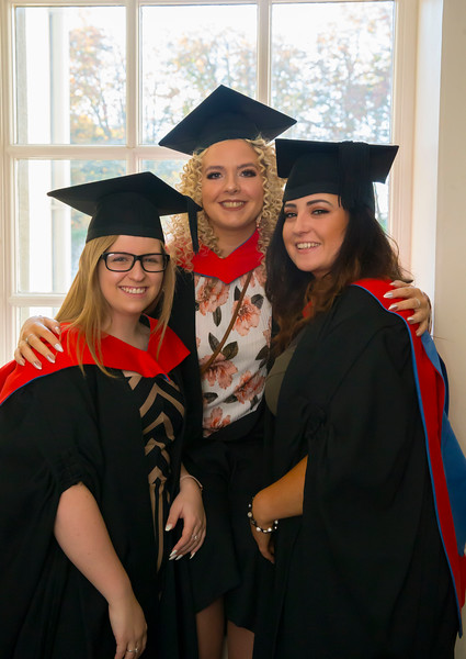 01/11/2018. Waterford Institute of Technology (WIT) Conferring Ceremonies 2018. Pictured are Stacy O'Doherty, Carrick on Suir, Sandra Kelly Ballywilliam, Co. Wexford, Niamh McCarthy-Griffin Baltinglass, Co. Wicklow. Picture: Patrick Browne