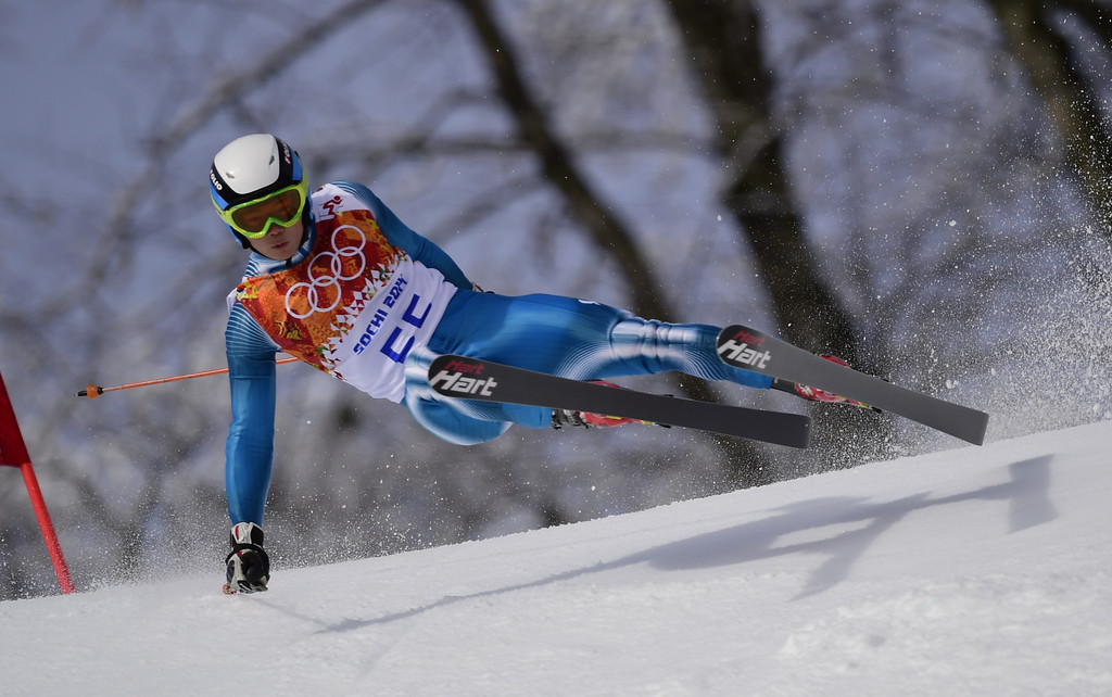 . South Korea\'s Park Je-Yun competes in the Men\'s Alpine Skiing Giant Slalom Run 1 at the Rosa Khutor Alpine Center during the Sochi Winter Olympics on February 19, 2014.  AFP PHOTO / OLIVIER  MORIN/AFP/Getty Images