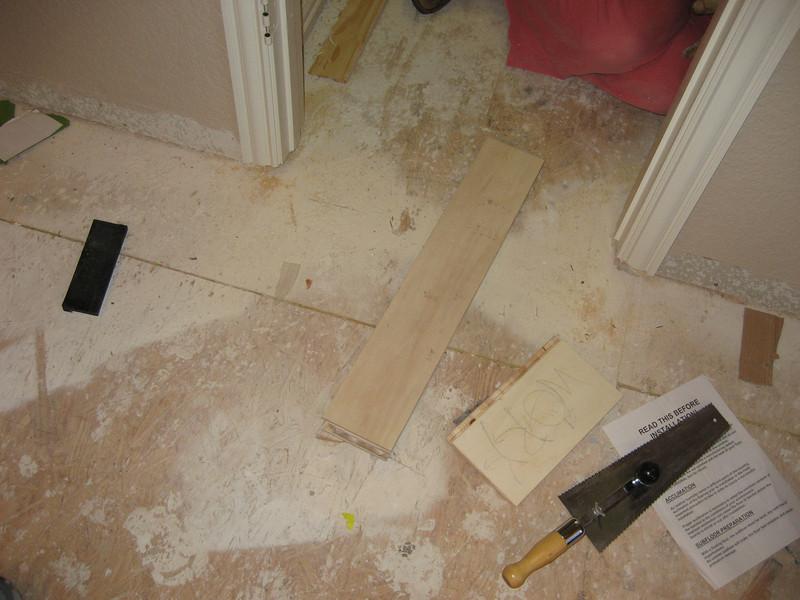 Preparing the closet for flooring.