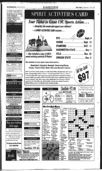 Daily Trojan, Vol. 150, No. 7, September 04, 2003