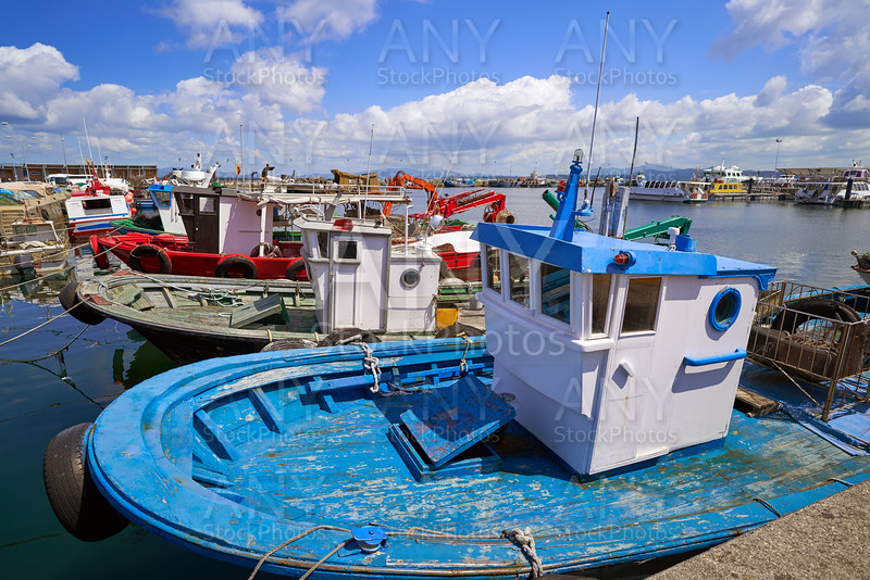 O Grove Ogrove port with fishing boats Pontevedra