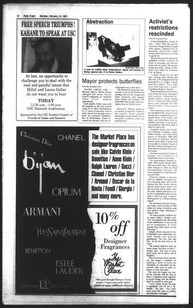 Daily Trojan, Vol. 111, No. 22, February 12, 1990