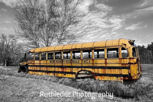 Old bus in a bog