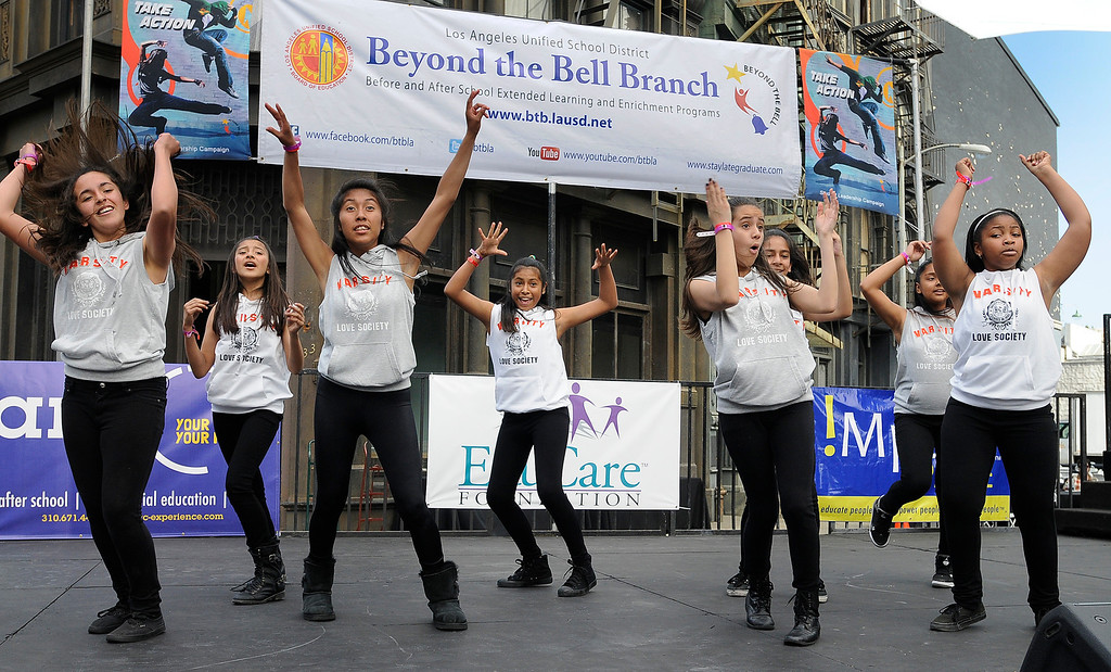 ". Girls from McClay Middle School in Pacoima performa a dance routine. LAUSD\'s program ""Beyond The Bell,\"" held a talent show and competition on the Paramount Studios Lot. Stages were set among streets replicating New York City, where kids from 49 Junior High and High Schools danced, sang, played instruments and gave spoken work performances to compete for more than $40,000 in scholarships. Hollywood , CA 5/11/2013(John McCoy/LA Daily News)"