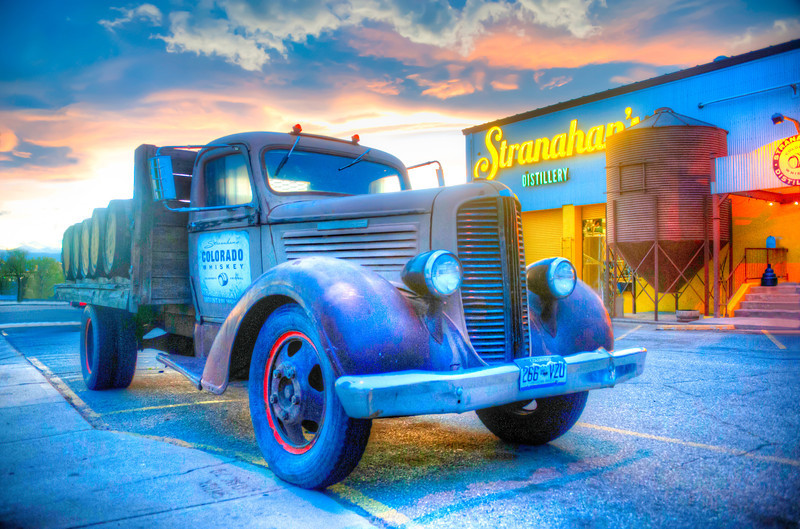"""This cool old truck was driven by John """"the Duke"""" Wayne when he visited Aspen, Colorado. It is under restoration by Rob Dietrich, the head distiller of Stranahan's Colorado Whiskey."""