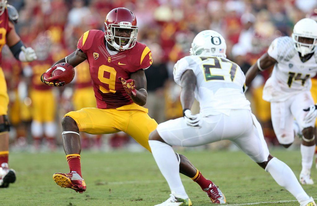 . <p><b>26. Cleveland: Marqise Lee, WR, USC. </b> <p>General manager Kevin Costner, er, Ray Farmer, might want to pick up a receiver that Manziel can create some magic with.   (Stephen Dunn/Getty Images)