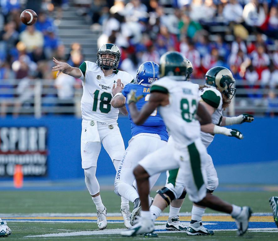 . San Jose State quarterback Garrett Grayson (18) passes against Colorado State during the first half of an NCAA college football game Saturday, Nov. 1, 2014, in San Jose, Calif. (AP Photo/Tony Avelar)