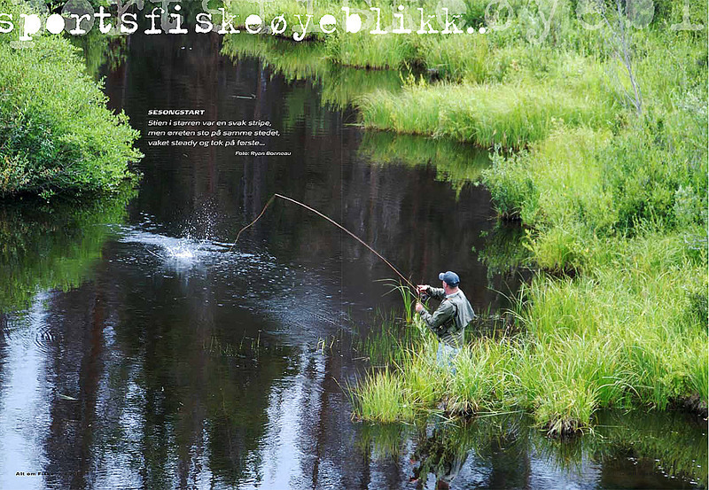 Double page spread in Alt om Fiske, Norwegian Fly Fishing magazine