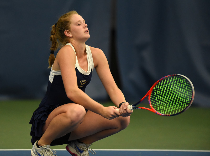 Knoch's Laura Greb reacts to losing to Sewickley Academy's Evelyn Safar. The Sewickley Academy girls team won the WPIAL Class AA team tennis championship with a 3-2 victory over Knoch at the Oxford Athletic Club in Wexford Thursday, October 17.