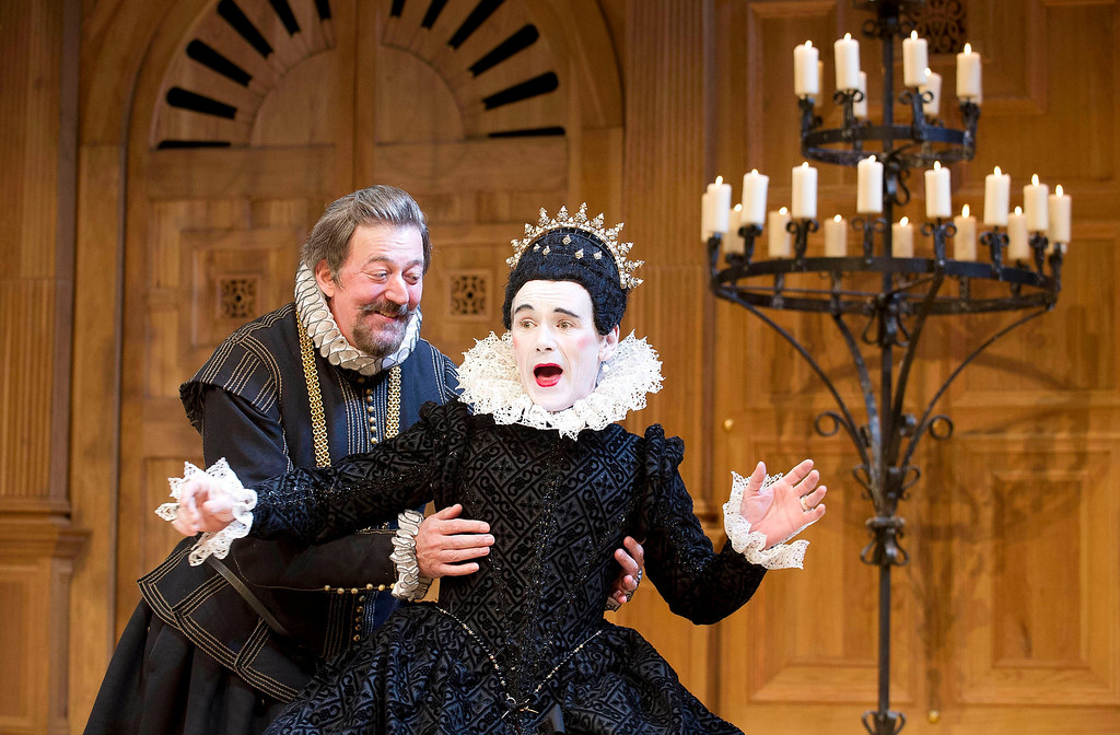 ". This undated theater image released by Boneau/Bryan-Brown shows Mark Rylance as Olivia, right, and Stephen Fry as Malvolio during a performance of William Shakespeare\'s ""Twelfth Night.\"" The first award of the night at the 68th annual Tony Awards was for best featured actor in a play and it went to Rylance, who won his third Tony for playing the countess Olivia in \""Twelfth Night.\"" Rylance, who previously won for \""Jerusalem\"" and \""Boeing-Boeing,\"" is also nominated for best lead actor honors for his evil title character in \""Richard III.\"" (AP Photo/Boneau/Bryan-Brown, Geraint Lewis, File)"