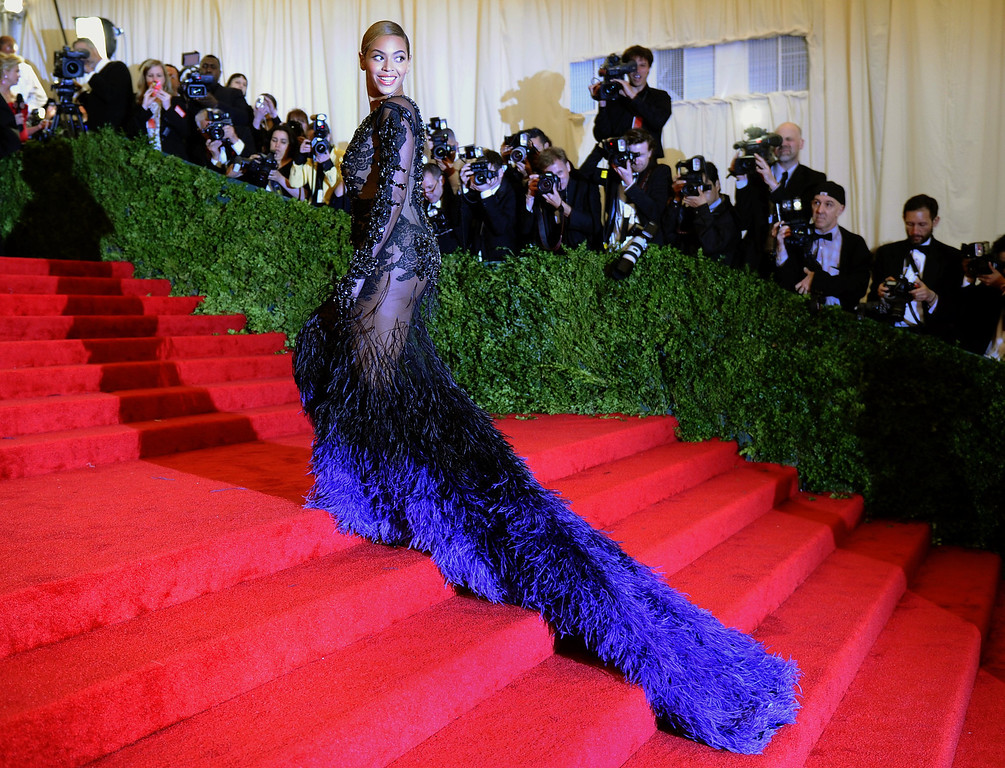 . Beyonce attends the Costume Institute Benefit at The Metropolitan Museum of Art May 7, 2012, celebrating the opening of Schiaparelli and Prada: Impossible Conversations in New York.          (TIMOTHY A. CLARY/AFP/GettyImages)