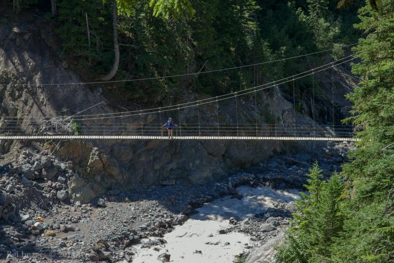 Mary on the Tahoma Creek suspension bridge.
