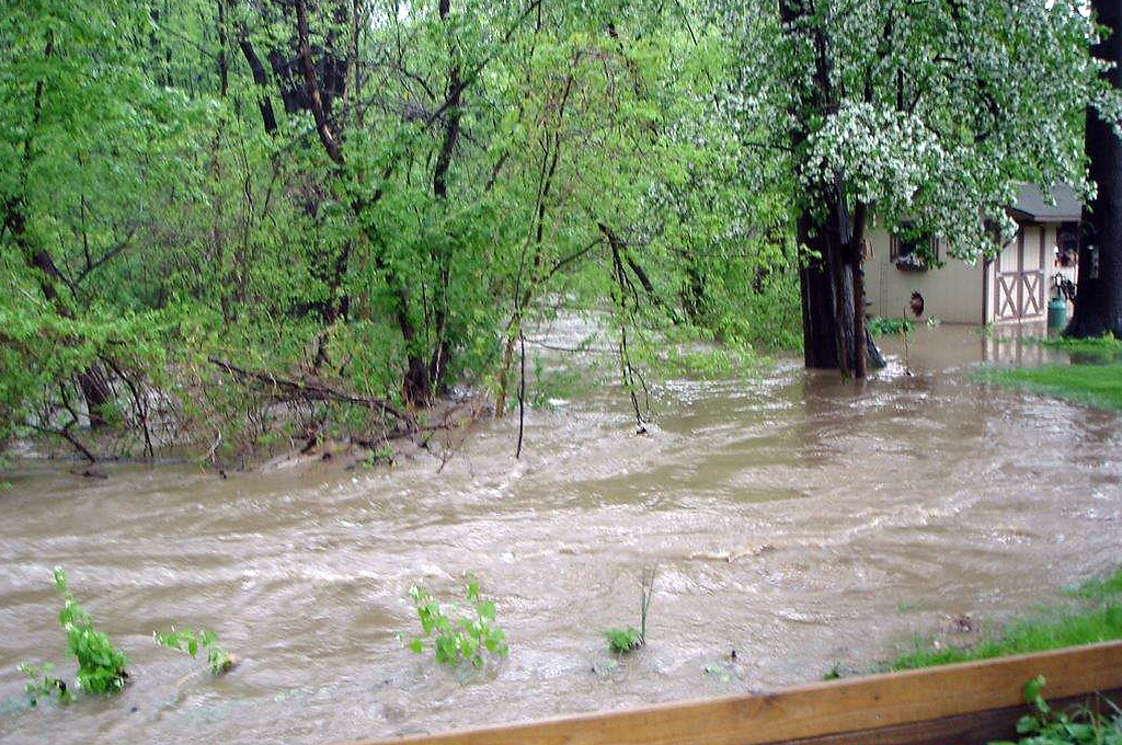 . Floodwaters through the Martin\'s run area of Washington Avenue from the May 12, 2014 storms.