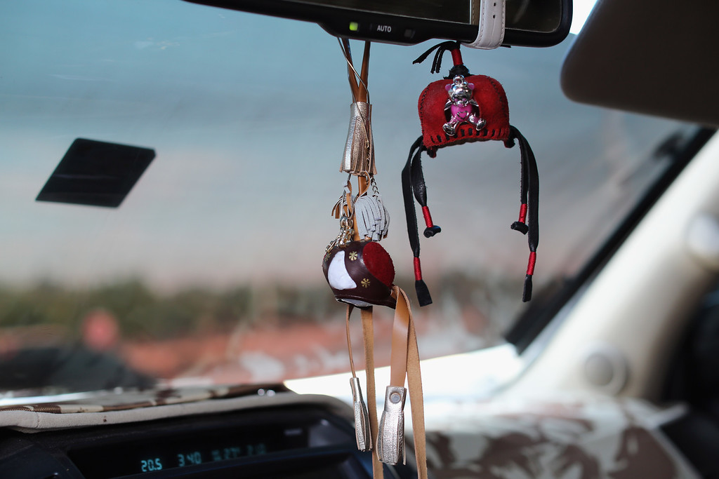 . Leather falcon hoods hang as decoration in a 4X4 on February 3, 2015 in Abu Dhabi, United Arab Emirates. (Photo by Dan Kitwood/Getty Images)