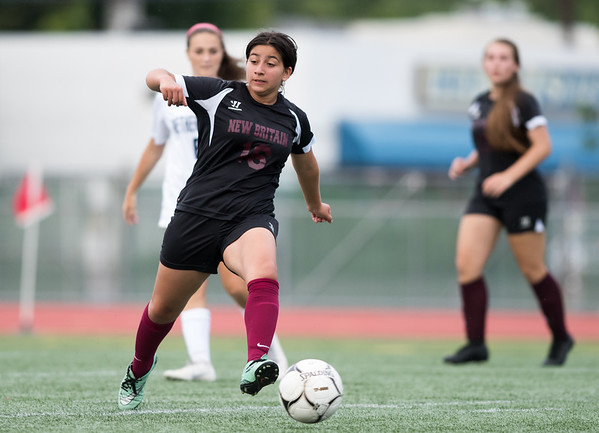 09/11/18 Wesley Bunnell | Staff New Britain girls soccer was defeated by Wethersfield 8-0 on Tuesday afternoon at Veterans Stadium. Angeline Mendieta (16).