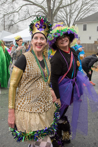 Deborah Turner, left,  celebrates with Mary Agar-Jones for Mary's birthday at the 2018 Mead Rd. Mardi Gras parade in Decatur
