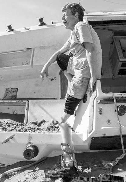 Jeff Catlin, 55 lost his sailboat when it beached in a Santa barbara winter storm and his leg in a construction accident. Tis is the second boat he has lost in just over a year.