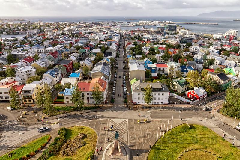 Looking down Lækjargata Street