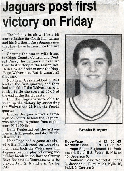 BPW066.  Brooks Frederick Burgum basketball news clipping – .jpg
