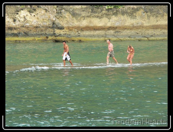 They aren't really walking on water. That edge of the lagoon is fairly shallow.