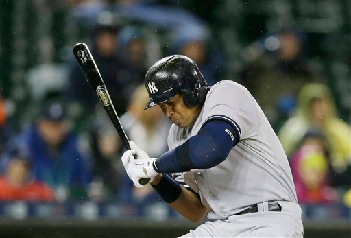 . New York Yankees designated hitter Alex Rodriguez dodges a high pitch during the seventh inning of a baseball game against the Detroit Tigers, Tuesday, April 21, 2015, in Detroit. (AP Photo/Carlos Osorio)