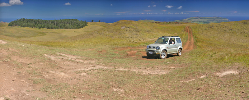 At the top of Rapa Nui, the hill Maunga Terevaka at 506mts. From this point you can see the ocean uninterrupted the whole 360 degrees.