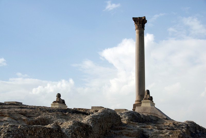 Pompey's Pillar against clear sky in Alexandria, Egypt