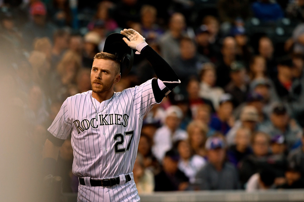 . Trevor Story (27) of the Colorado Rockies strikes out in the 3rd inning against the San Diego Padres at Coors Field. April 09, 2016 in Denver, CO. (Photo By Joe Amon/The Denver Post)