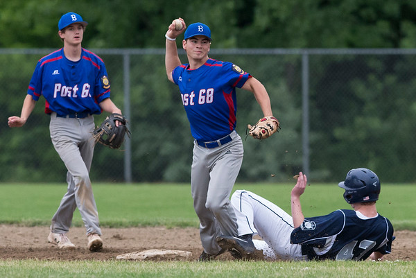 06/19/19 Wesley Bunnell   Staff Berlin Legion vs Newington at Legends Field in Newington on June 19, 2019. Dan Veleas (25) attempts to turn the double play with Newington's J. Coleman (43) sliding in.