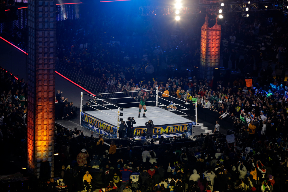 . Ryan Reeves, known as Ryback, lifts Mark Henry during their match at the WWE Wrestlemania 29 wrestling event, Sunday, April 7, 2013, in East Rutherford, N.J. (AP Photo/Mel Evans)