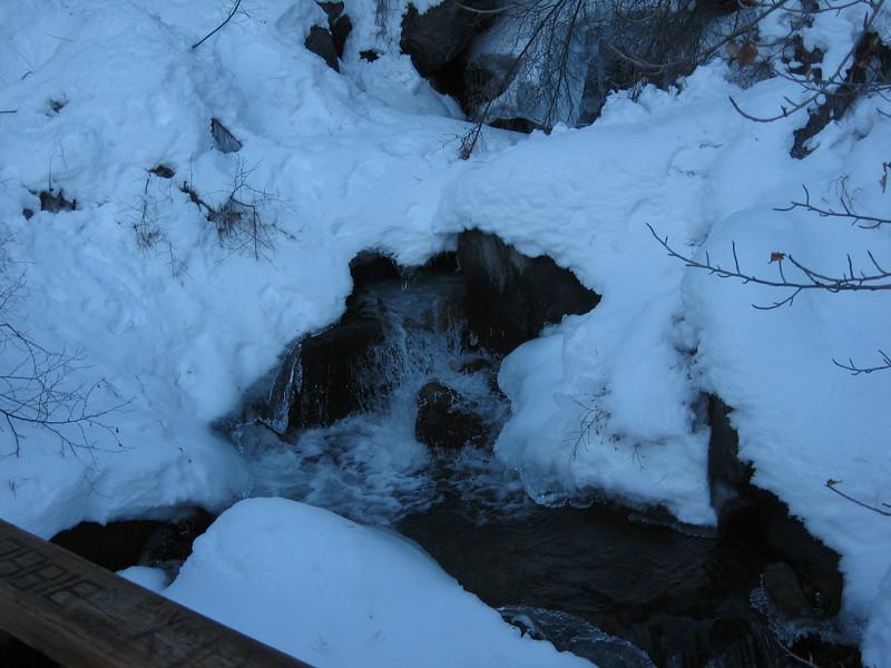 snow and ice on Big Pine Creek