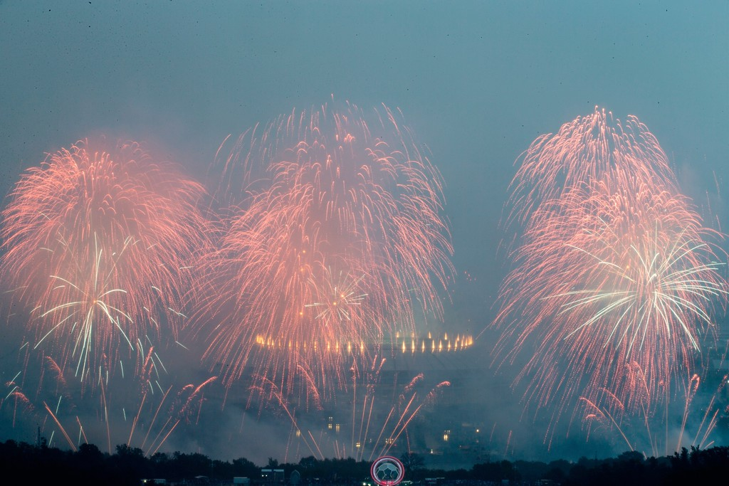 . Fireworks explode near the Luzhniki stadium after the final match between France and Croatia at the 2018 soccer World Cup in Moscow, Russia, Sunday, July 15, 2018. (AP Photo/Alexander Zemlianichenko)