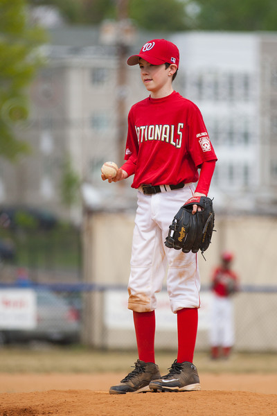 Mac getting ready to pitch in the bottom of the 1st inning. The Nationals started out their season with a 4-1 win over the Pirates. 2012 Arlington Little League Baseball, Majors Division. Nationals vs Pirates (14 Apr 2012) (Image taken by Patrick R. Kane on 14 Apr 2012 with Canon EOS-1D Mark III at ISO 200, f2.8, 1/3200 sec and 190mm)