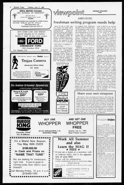 Summer Trojan, Vol. 89, No. 2, June 17, 1980
