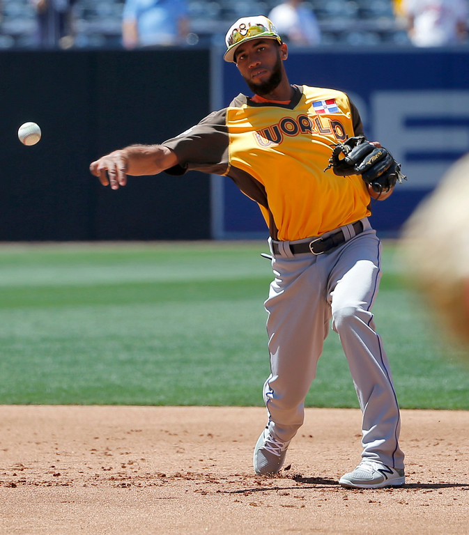 . World Team\'s Amed Rosario, of the New York Mets, fields prior to the All-Star Futures baseball game against the U.S. Team, Sunday, July 10, 2016, in San Diego. (AP Photo/Lenny Ignelzi)
