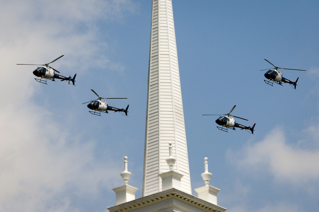 . LAPD helicopters flyover the burial of LAPD officer Chris Cortijo, Tuesday, April 22, 2014, at Forest Lawn Hollywood Hills. (Photo by Michael Owen Baker/L.A. Daily News)
