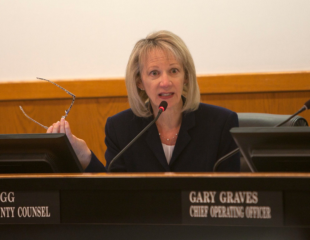 . Lori Pegg, acting county counsel, makes a point as Santa Clara County Supervisors hold a special meeting Tuesday, March 5, 2013 at the County Government Center in San Jose. The meeting was to decide how to fill the District 2 post vacated by George Shirakawa Jr., who resigned Friday after criminal charges were filed against him. (Patrick Tehan/Staff)