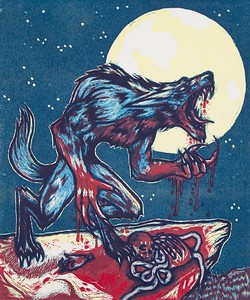"""Beware the Lunar Light"" (two-block linocut print) by Christina Bruley"
