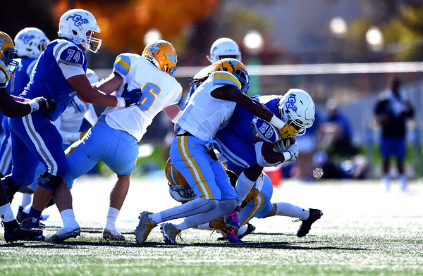 10/26/2019 Mike Orazzi | Staff CCSU's Keonte Lucas (26) during Saturday's football game with Long Island University in New Britain.
