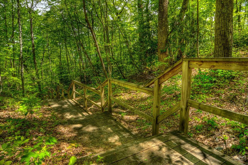 Wooden steps and boardwalk leading down to Chained Rock in Pine Mountain State Resort Park in Pineville, KY on Tuesday, April 24, 2012. Copyright 2012 Jason Barnette