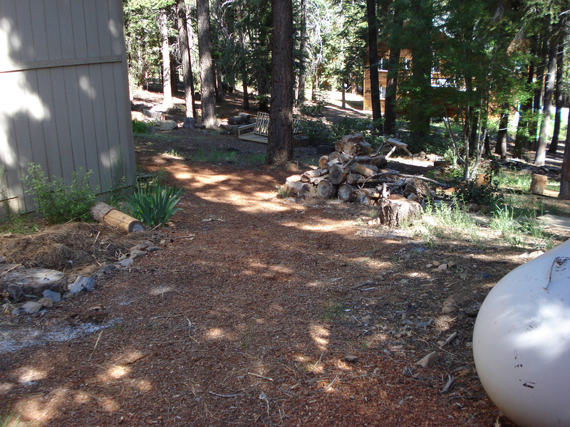 Backyard Garden with new Pine Bark Mulch
