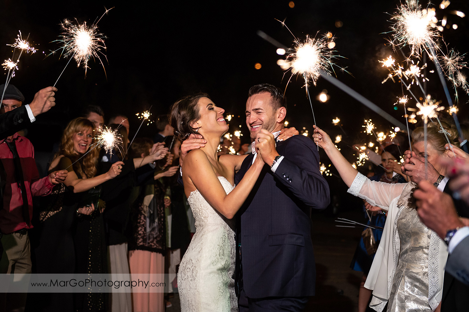 sparklers exit of bride and groom wedding reception at San Pablo Rockefeller Lodge