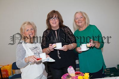 Anne Doyle, Blainaid O'Shea and Mella Cunningham pictured at a coffee morning held in St Clares Abbey PS in aid of the Southern Area Hospice. R1638001