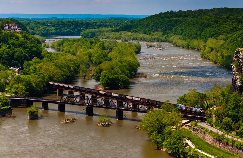 View of Railroad Bridge and Train from Maryland Heights