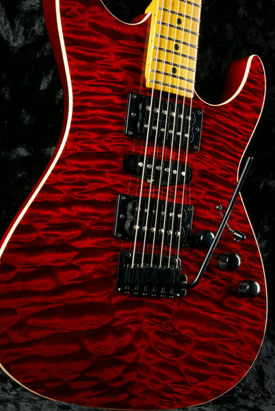 Bent Top Custom #3224 Double Stain Red, HSH, Black Hardware.
